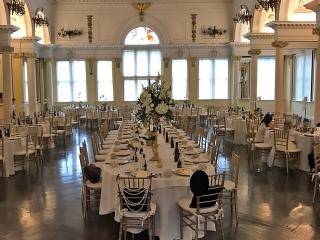 Wedding tables setup at Saratoga Casino in congress park